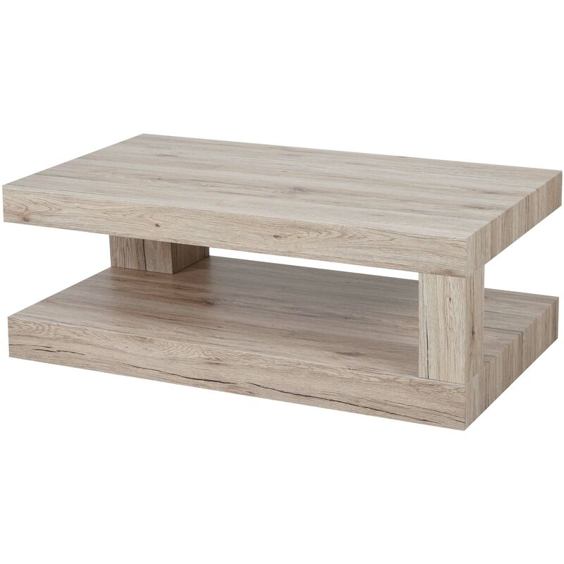 Tavolino da salotto HWC-A32 MDF 60x110x40cm colore rovere chiaro