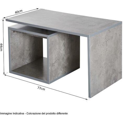 Tavolino Da Salotto In Legno Mdf Grigio 77x40x44 Cm Benzoni
