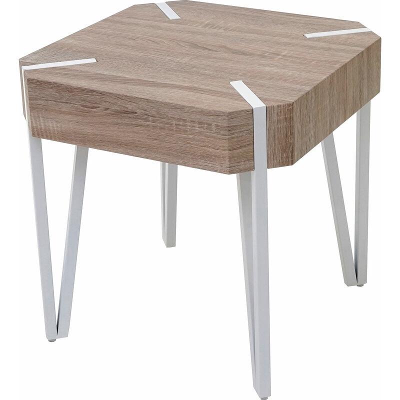 Tavolino da salotto Kos T574 legno di pioppo rivestito 50x50x52cm colore rovere chiaro - MENDLER
