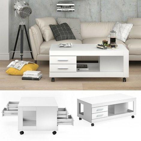 Tavolino Da Salotto Moderno Bianco.Tavolino Da Salotto Moderno Con 4 Cassetti E Ruote Tavolo Soggiorno Movibile
