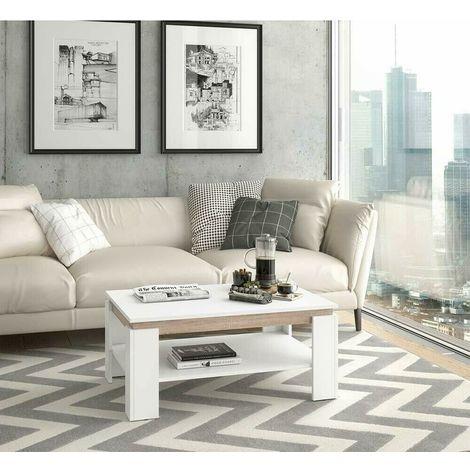 Soggiorno Moderno Con Tavolo In Legno.Tavolino Da Salotto Moderno In Legno Bicolore Con Ripiano 90x40x60