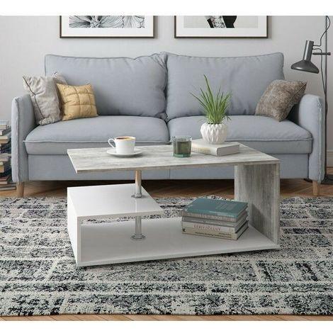 con 2 ripiani HxLxP 71,5x44,5x37 cm Relaxdays Tavolino salotto bamb/ù robusto con portagiornali marrone soggiorno