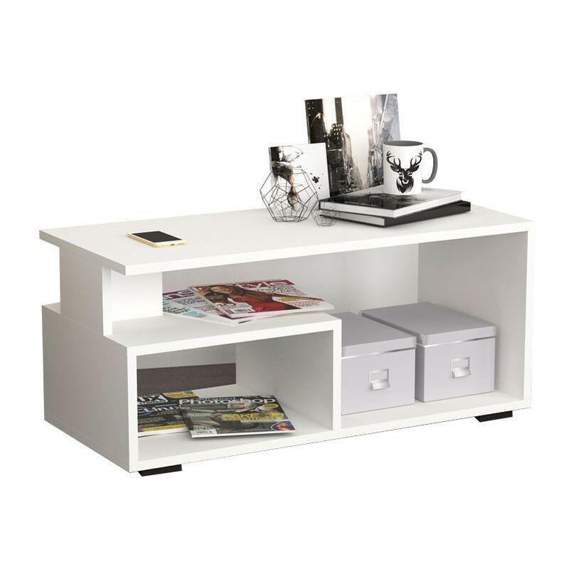 Argonauta - Tavolino da salotto rettangolare porta tv bianco 90x45xh.45 cm