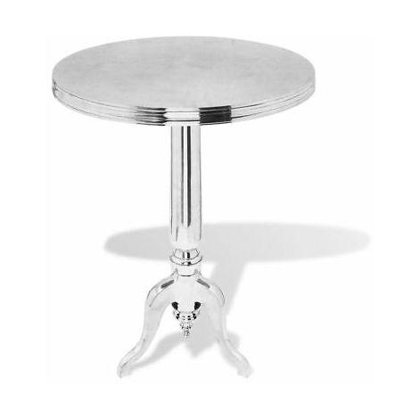 Tavolino da salotto rotondo in alluminio argentato tavolo caffè design  moderno