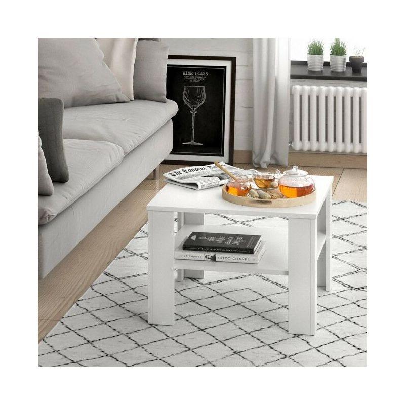Tavolino da Salotto Soggiorno Caffè Design Moderno Quadrato con ripiano  Bicolore