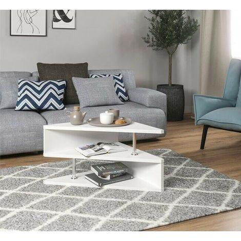 Tavolino Da Salotto Moderno Bianco.Tavolino Da Salotto Soggiorno Caffe Design Moderno Triangolare Con Ripiani Caratteristiche Bianco