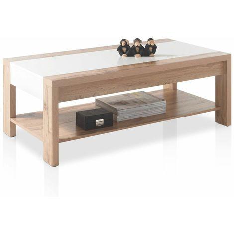 Tavolino da salotto soggiorno design moderno in legno con due ripiani  d\'appoggio
