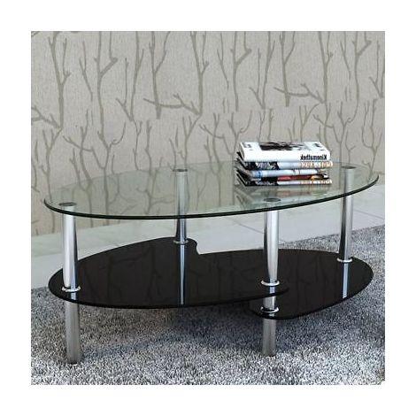 Tavolino da salotto tavolo caffè basso in vetro con ripiano 90 x 45 ...