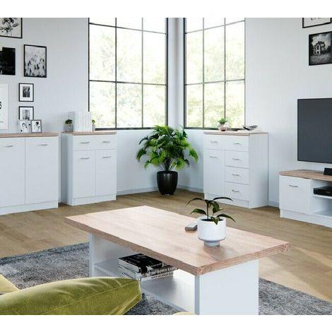 Tavolino da soggiorno caffè moderno bicolore con doppio ripiano 115x48x55