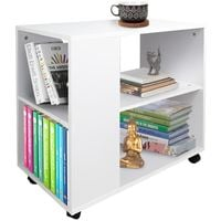 Tavolino Divano Libreria Design Moderno 2 Ripiani con Ruote 70x35x61 Casa Bianco