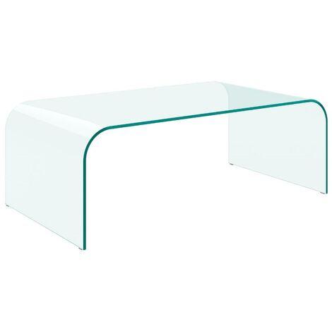 Tavolino ELVIS da salotto in vetro curvato trasparente