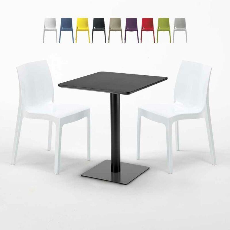Table carrée 60x60 noire avec 2 chaises colorées Ice Licorice | Blanc