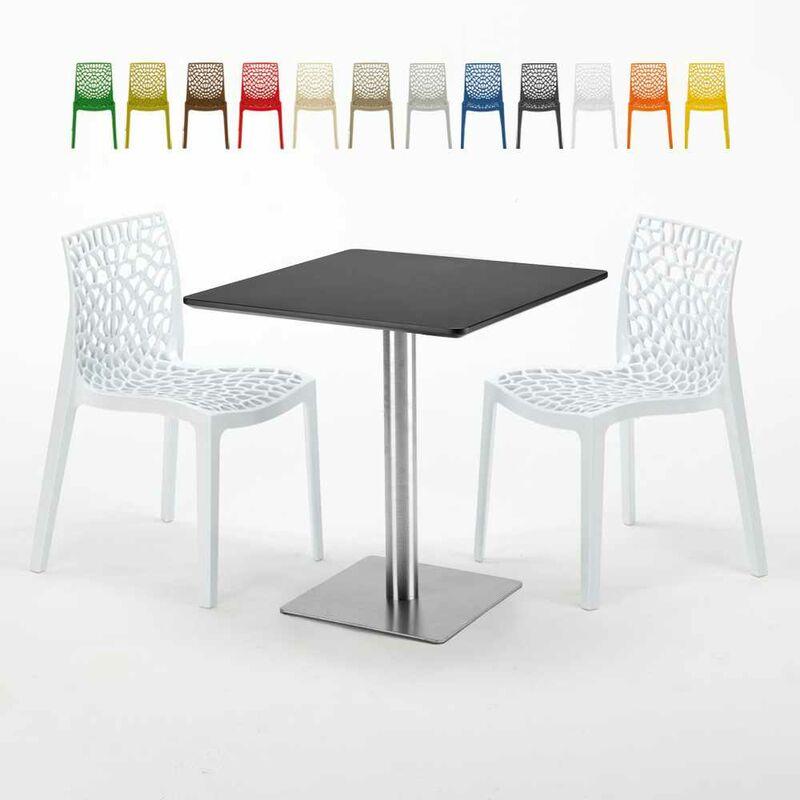 Table carrée noire 70x70 avec 2 chaises colorées Gruvyer Rum Raisin | Blanc