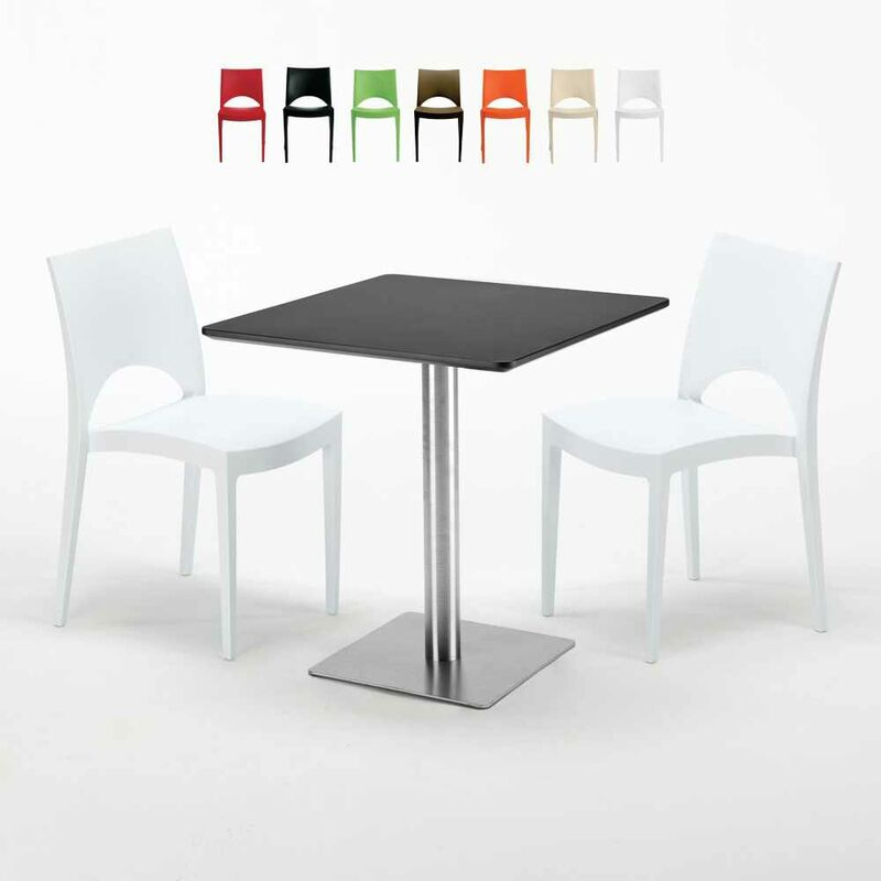 Table carrée noire 70x70 avec 2 chaises colorées Paris Rum Raisin | Blanc