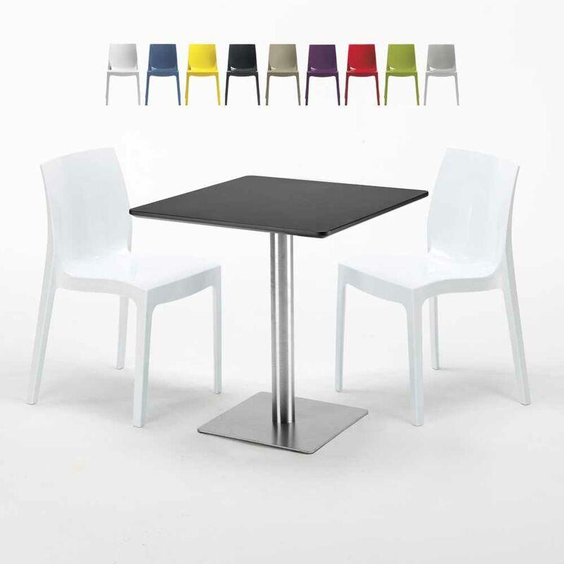 Table carrée noire 70x70 avec 2 chaises colorées Ice RUM RAISIN | Blanc