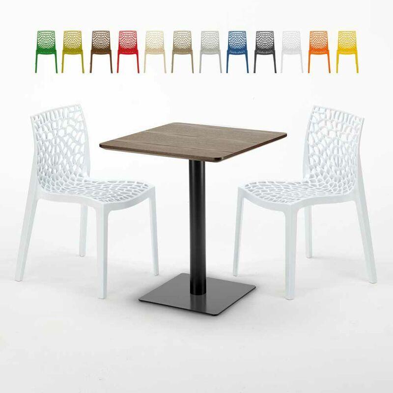 Table carrée 60x60 pied noir et surface bois avec 2 chaises colorées Gruvyer Kiss | Blanc