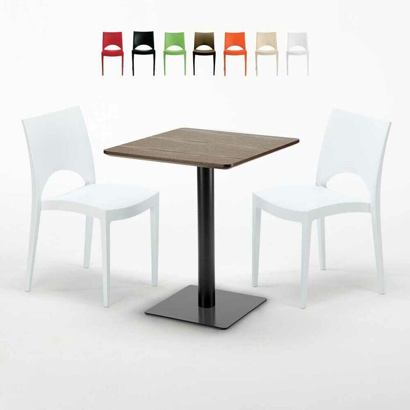 Table carrée 60x60 pied noir et plateau bois avec 2 chaises colorées Paris Kiss | Blanc