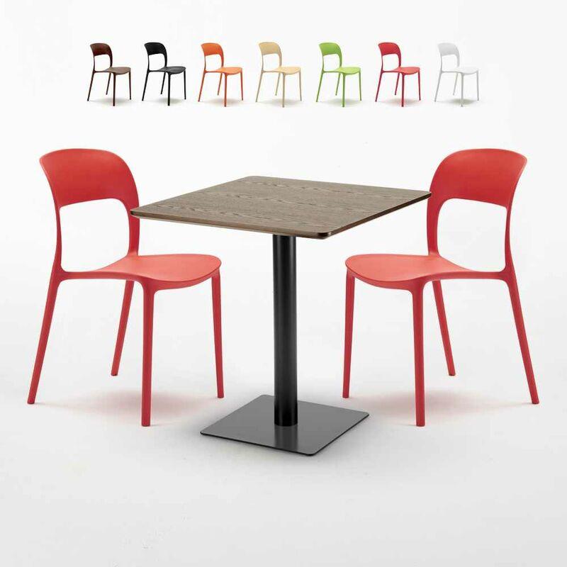 Table carrée 60x60 pied noir et plateau bois avec 2 chaises colorées Restaurant KISS | Rouge - AHD AMAZING HOME DESIGN