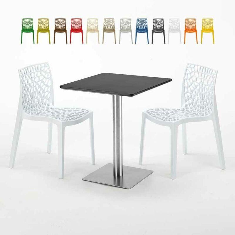 Table carrée 60x60 pied acier et plateau noir avec 2 chaises colorées Gruvyer Pistachio | Blanc