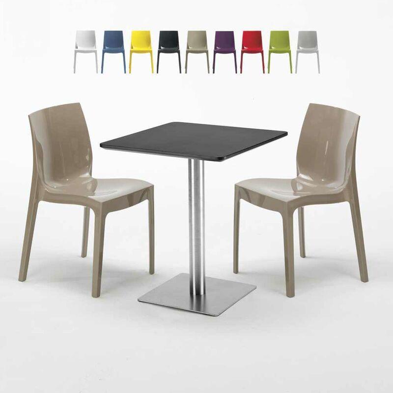 Table carrée 60x60 cm Base Argent E Top Noir Avec 2 Chaises Colorées Ice Pistachio | Beige - GRAND SOLEIL