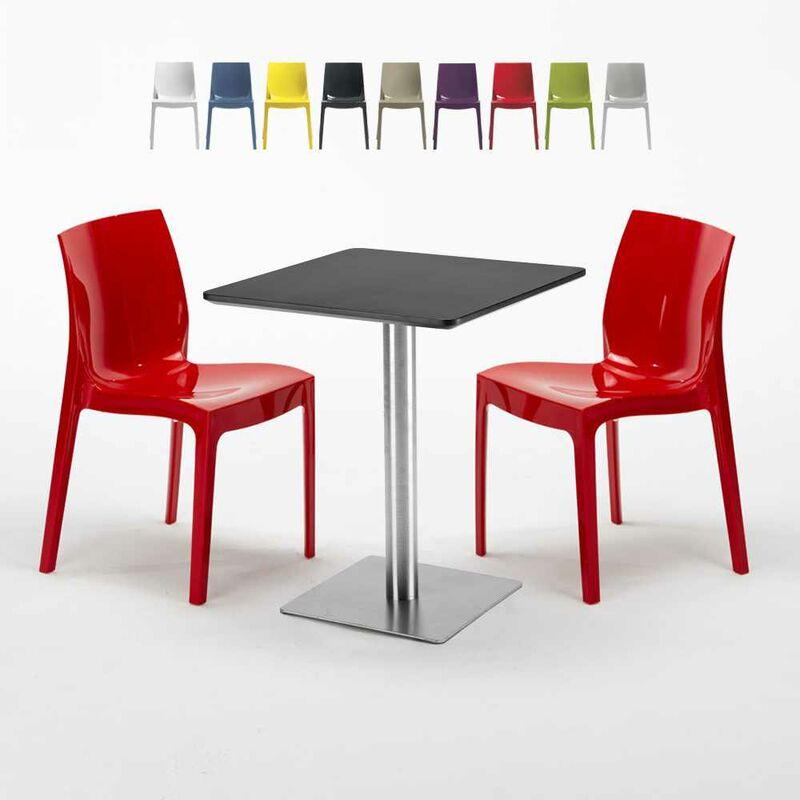 Table carrée 60x60 cm Base Argent E Top Noir Avec 2 Chaises Colorées Ice Pistachio | Rouge - GRAND SOLEIL