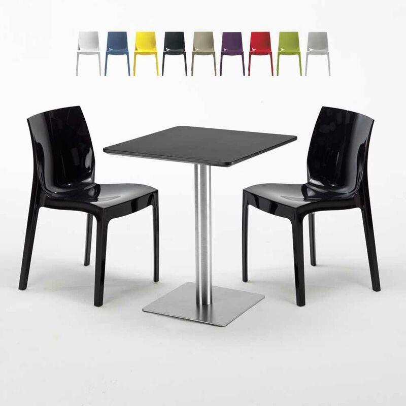 Table carrée 60x60 cm Base Argent E Top Noir Avec 2 Chaises Colorées Ice Pistachio | Noir - GRAND SOLEIL