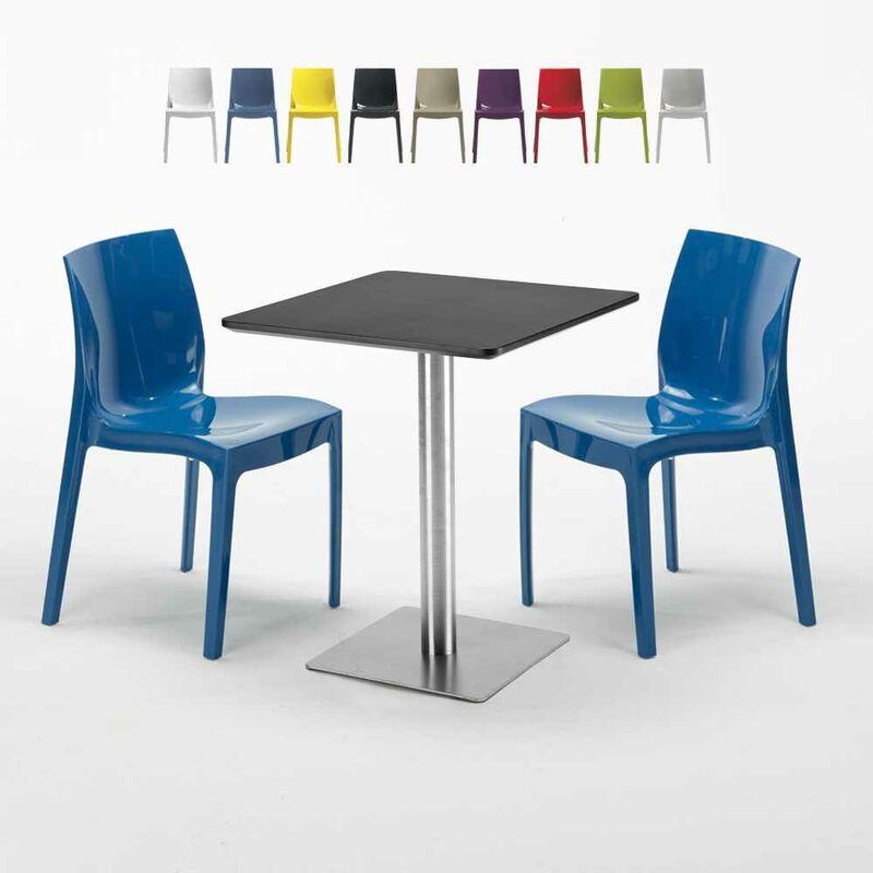 Table carrée 60x60 cm Base Argent E Top Noir Avec 2 Chaises Colorées Ice Pistachio | Bleu - GRAND SOLEIL