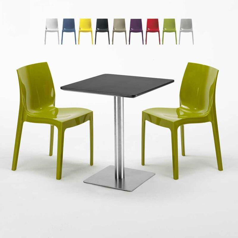 Table carrée 60x60 cm Base Argent E Top Noir Avec 2 Chaises Colorées Ice Pistachio | Vert - GRAND SOLEIL