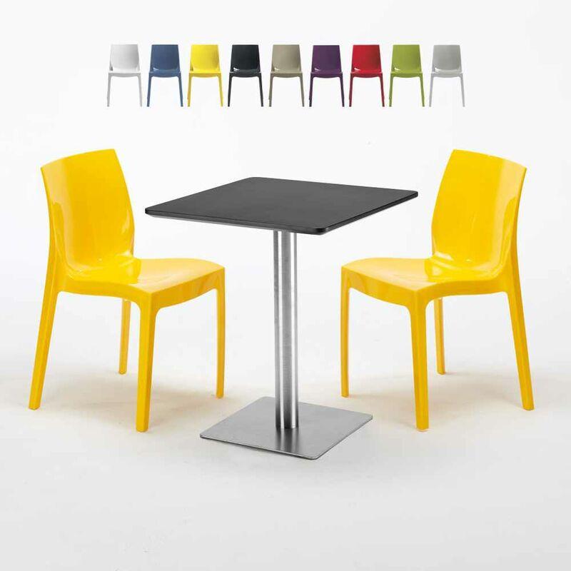 Table carrée 60x60 cm Base Argent E Top Noir Avec 2 Chaises Colorées Ice Pistachio | Jaune - GRAND SOLEIL