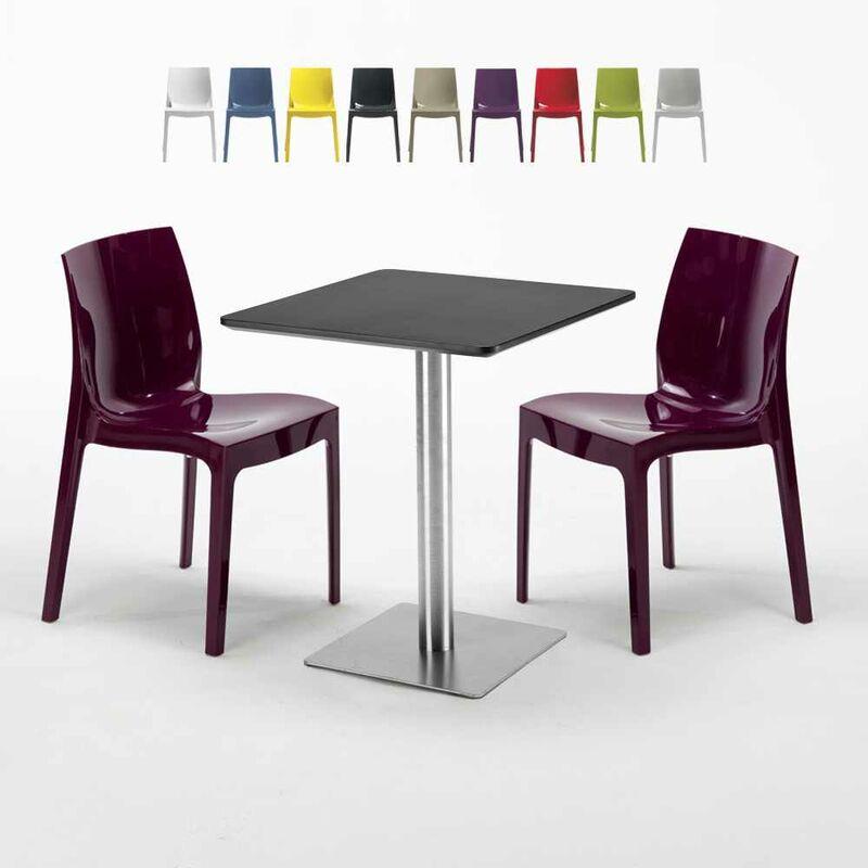 Table carrée 60x60 cm Base Argent E Top Noir Avec 2 Chaises Colorées Ice Pistachio | Pourpre - GRAND SOLEIL