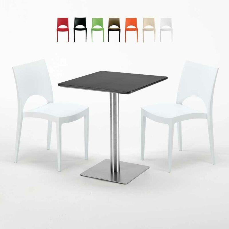 Table carrée 60x60 pied acier et plateau noir avec 2 chaises colorées Paris Pistachio | Blanc