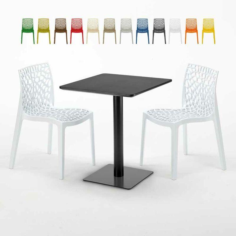 Table carrée 60x60 noire avec 2 chaises colorées Gruvyer Licorice | Blanc