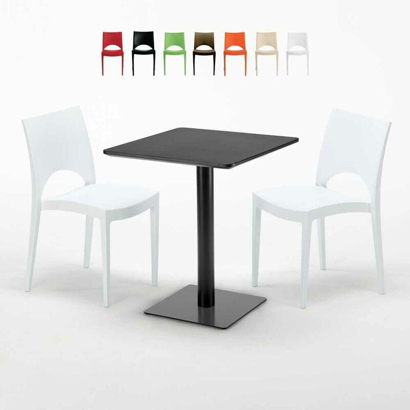 Table carrée 60x60 noire avec 2 chaises colorées Paris Licorice | Blanc