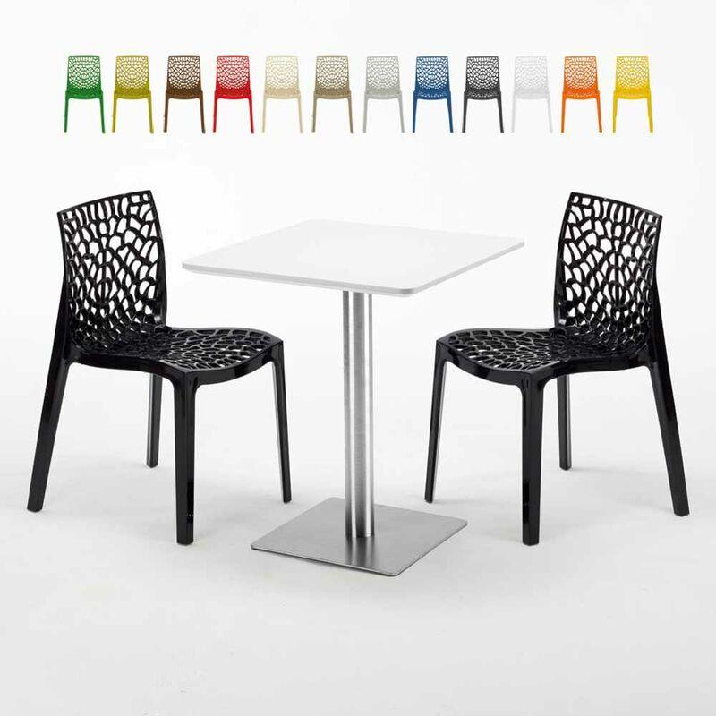 Table carrée 60x60 plateau blanc avec 2 chaises colorées Gruvyer Hazelnut | Noir