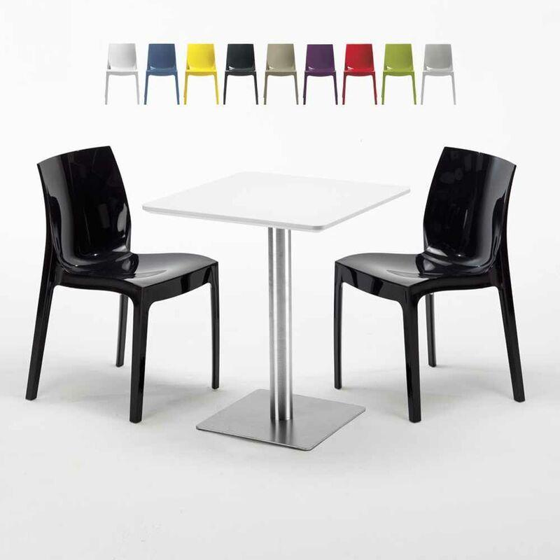 Table carrée 60x60 plateau blanc avec 2 chaises colorées Ice Hazelnut | Noir
