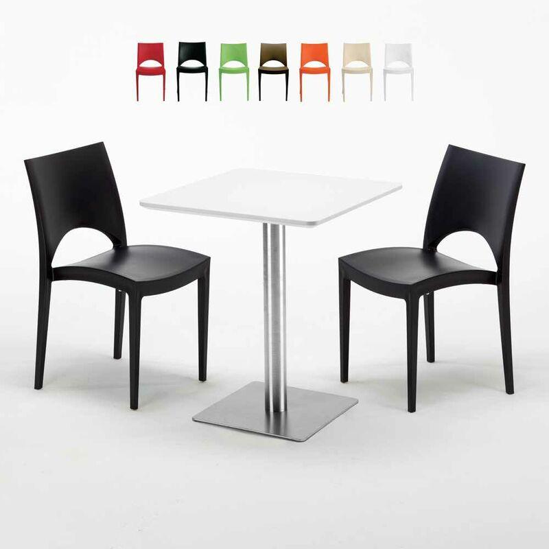 Table carrée 60x60 plateau blanc avec 2 chaises colorées Paris Hazelnut | Noir