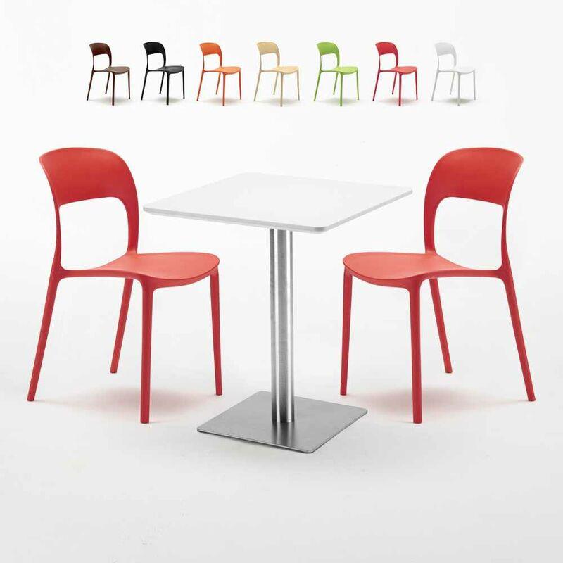 Table carrée 60x60 plateau blanc avec 2 chaises colorées Restaurant Hazelnut | Rouge - AHD AMAZING HOME DESIGN