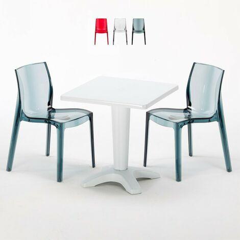 """main image of """"Tavolino Quadrato 70x70 cm e 2 Sedie Colorate Trasparenti Caffè"""""""