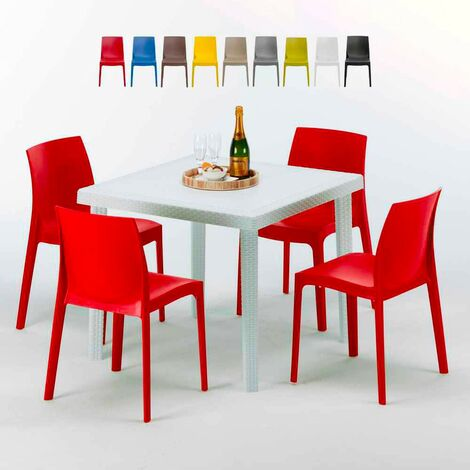 Tavolini Sedie Bar.Tavolino Quadrato Bianco 90x90 Con 4 Sedie Esterno Bar Rome