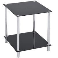 Tavolino Quadrato Caffe' Divano Salotto 2 Ripiani Acciaio e Vetro 40x50cm Nero