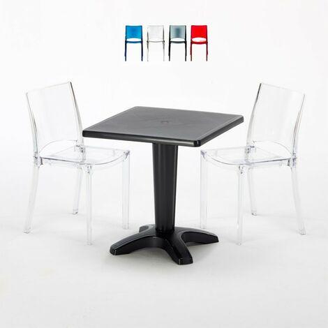 Tavolino Quadrato 70x70 cm e 2 Sedie Colorate Trasparenti ...