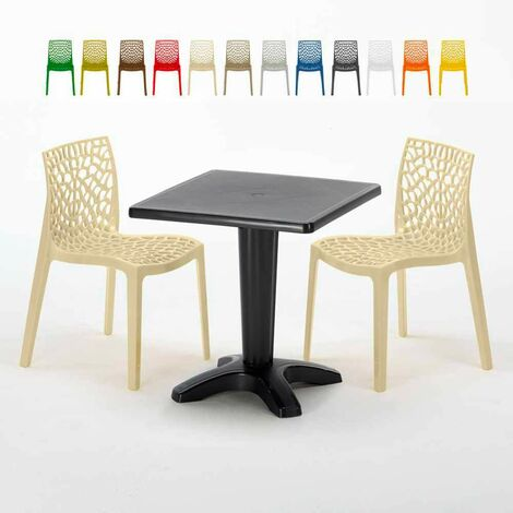 Tavolini Sedie Bar.Tavolino Quadrato Nero 70x70cm Con 2 Sedie Colorate Interno