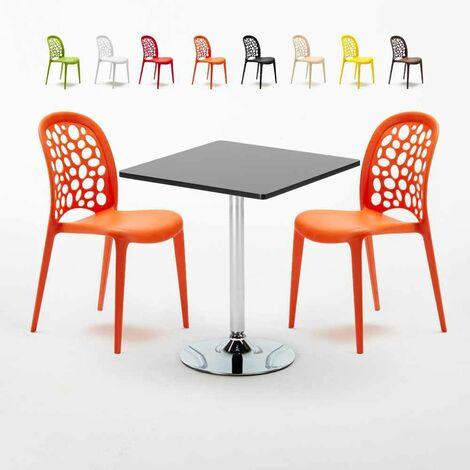 Tavolino Quadrato Nero 70x70cm Con 2 Sedie Interno WEDDING MOJITO