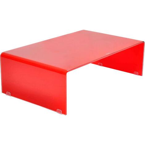 Tavolino Salotto Rosso.Tavolino Rettangolare In Vetro Rosso 100 X 60 Per Interno Salotto Moderno
