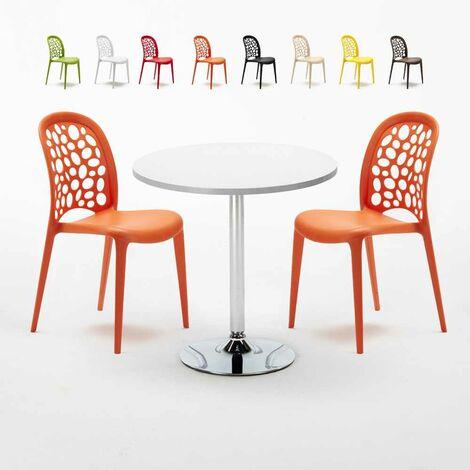 Tavolino Rotondo Bianco 70x70cm Con 2 Sedie Interno WEDDING LONG ISLAND