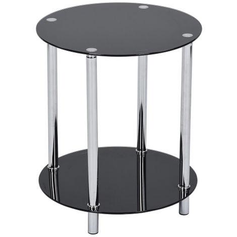 Tavolino Rotondo Caffe' Divano Salotto 2 Ripiani Acciaio e Vetro 40x50cm Nero