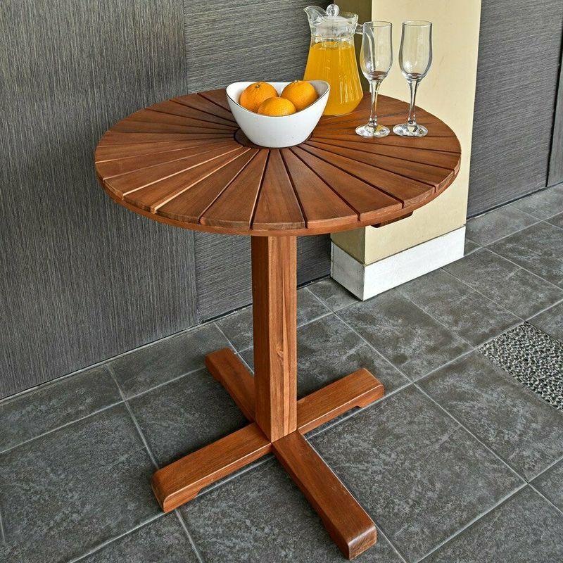 Tavolino rotondo da giardino esterni in legno di acacia 70 5 cm 123269335427 - Rubinetti da giardino di design ...