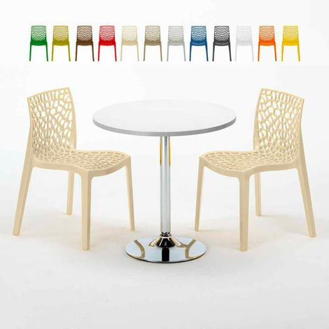 Sedie In Alluminio Per Bar Usate.Tavolino Rotondo Nero 70x70cm Con 2 Sedie Colorate Interno Bar