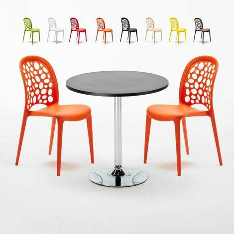 Tavolino Rotondo Nero 70x70cm Con 2 Sedie Interno WEDDING COSMOPOLITAN