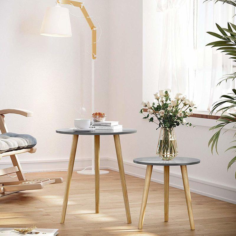Tavolino Rotondo Sostenuto Da Un Treppiedi.Tavolino Rotondo Tavolino Moderno Minimalista Set Di 2 Tavolini Da Caffe Con Gambe In Legno Di Pino Stile Scandinavo Per Soggiorno Salotto